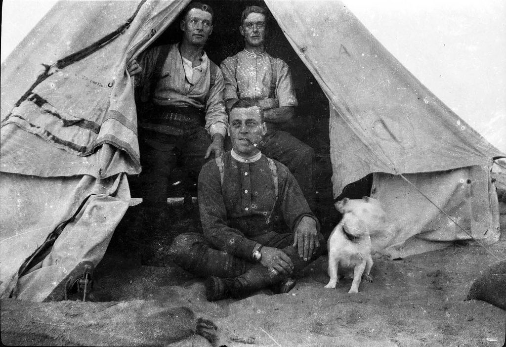 British soldiers WW1 in a army bell tent