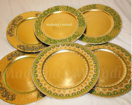Mehndi Plates Uk : Henna inspired mehndi plates thaals cardiff uks and