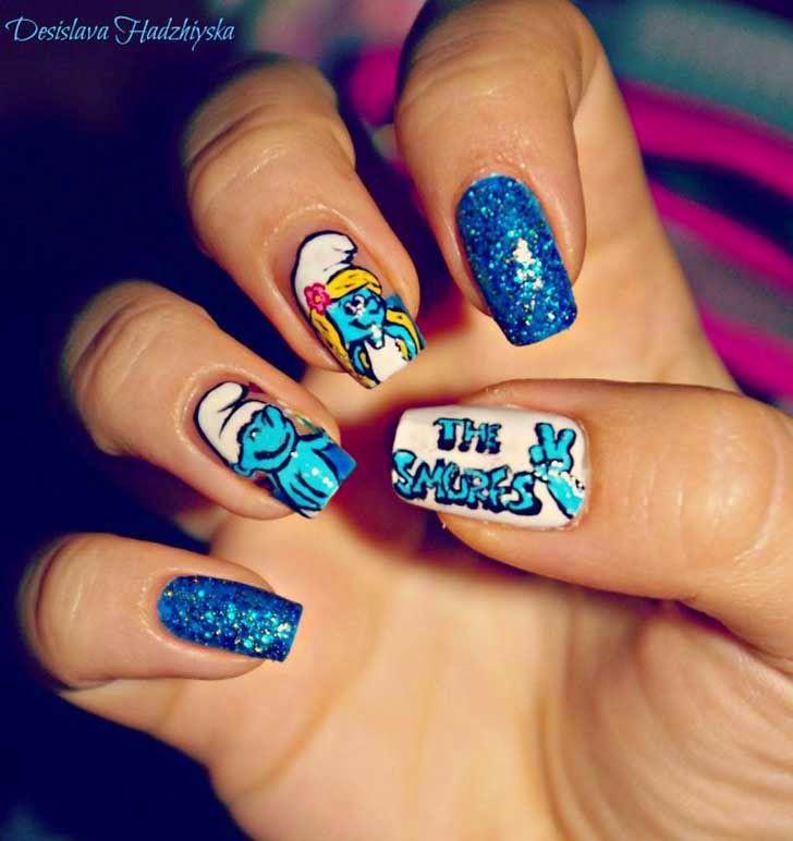 Diseños de uñas al estilo Película de los Pitufos | arantza ...