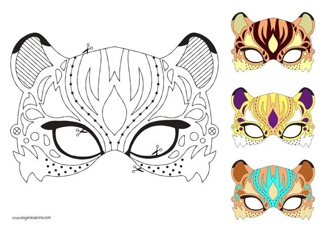 Masque tigre coloriage bdef f te - Chat coloriage masque ...