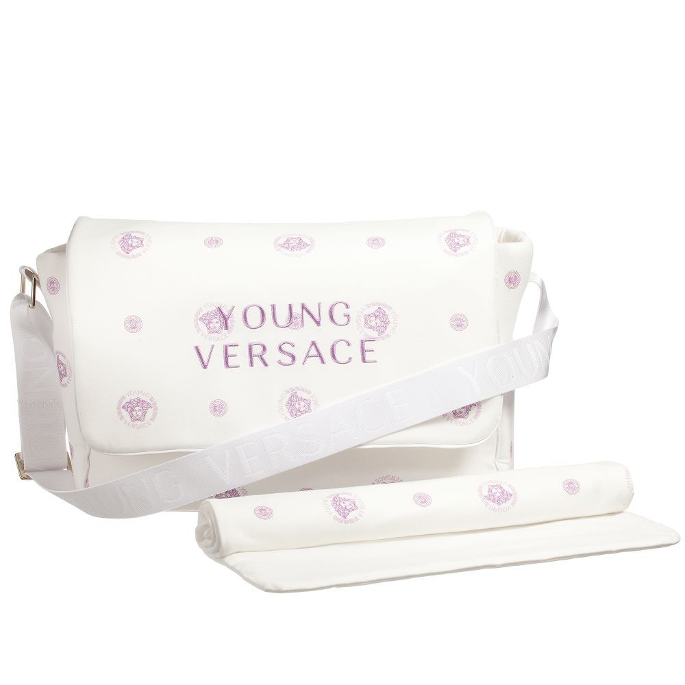 Young Versace White Pink Medusa Baby Changing Bag 38cm Childrensalon