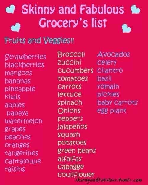 Skinny girl shopping list Health \ Fitness Pinterest Skinny - shopping lists