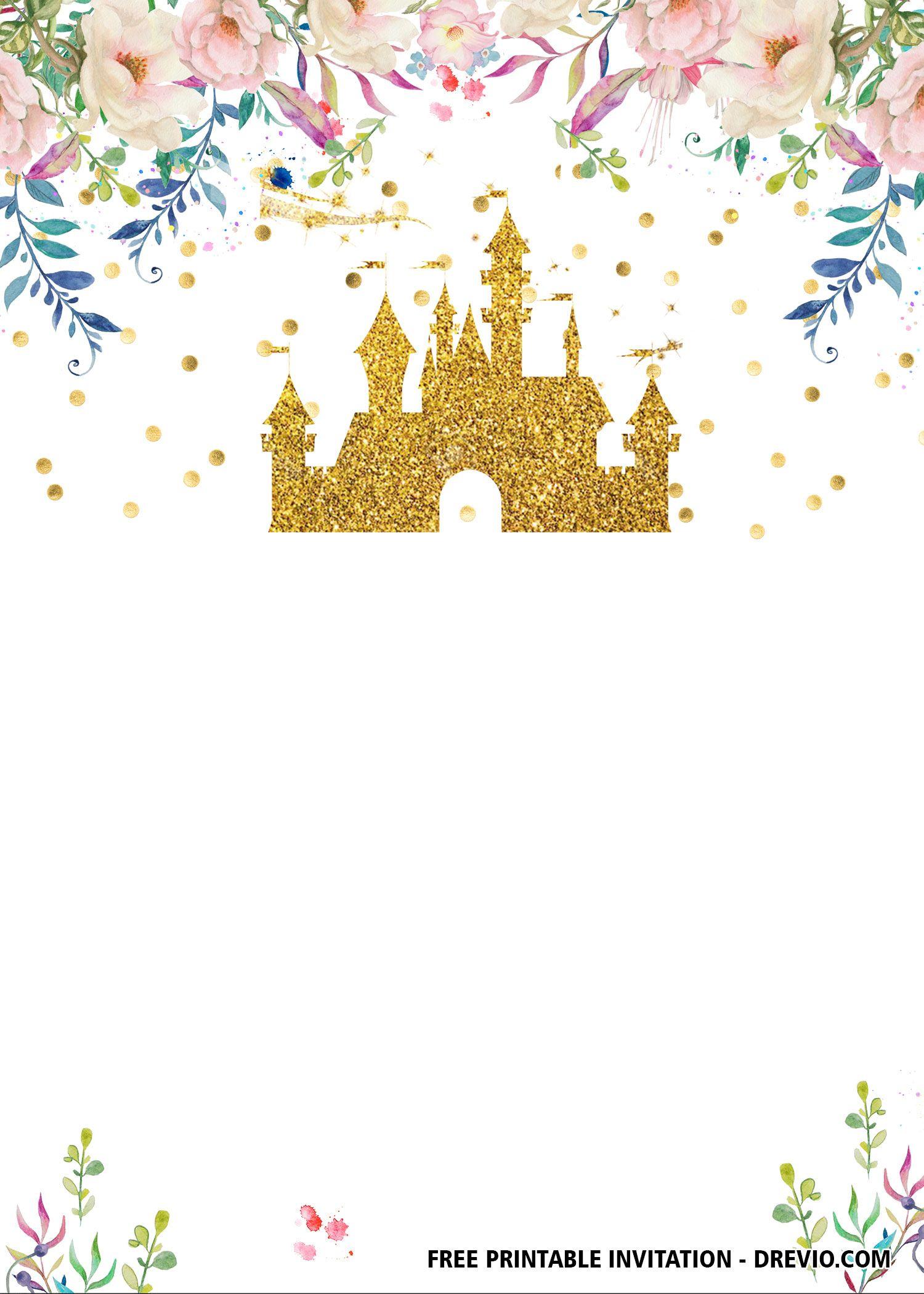 Free Disney Castle Bachelorette Invitation Templates Updated Disney Invitations Disney Princess Invitations Princess Invitations