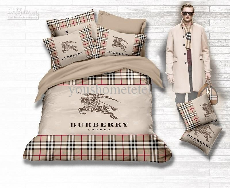 Wholesale Bed In A Bag Buy Famous Brand Name Logo Printed Brown