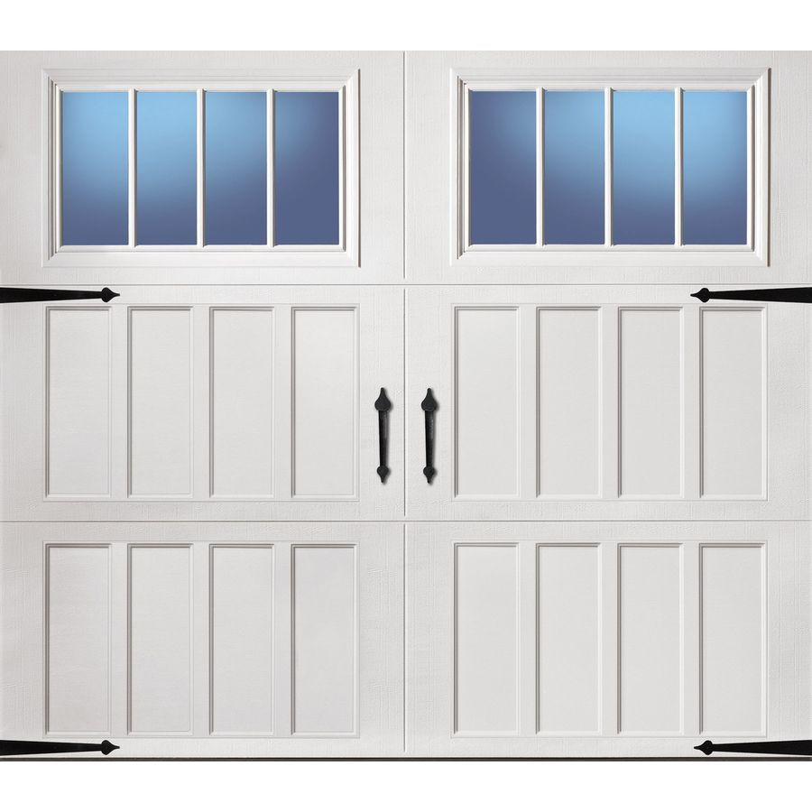 Reliabilt Carriage House Series 108 In X 84 In Insulated White Single Garage Door With Windows Garage Door Windows Single Garage Door White Garage Doors