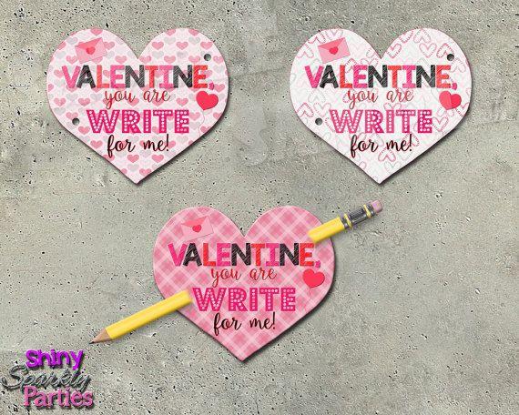 PENCIL VALENTINES  Heart Valentine Cards  Valentines for school