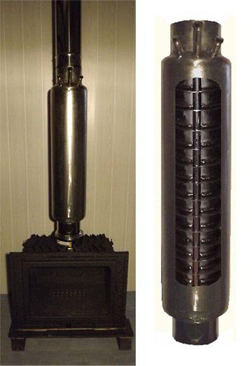 echangeur en inox pour chauffer l 39 eau gr ce au tube de sortie d 39 une chemin e ou d 39 un p ele. Black Bedroom Furniture Sets. Home Design Ideas