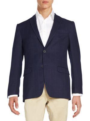 TOMMY HILFIGER Windowpane Check Wool-Blend Jacket. #tommyhilfiger #cloth #jacket