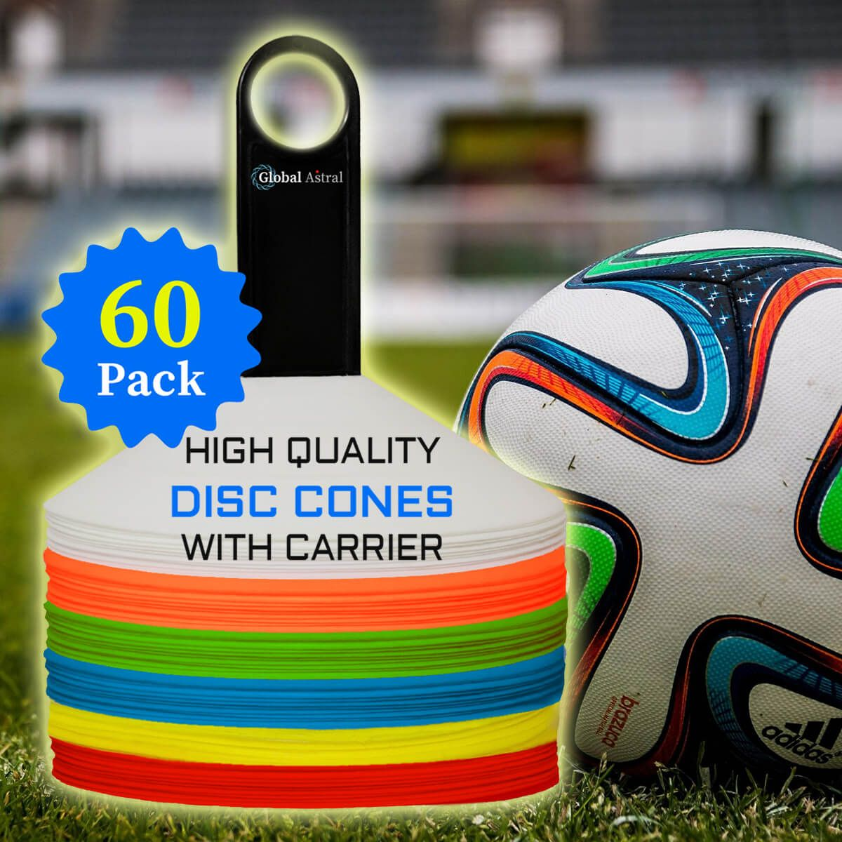 Set Of 60 Disc Cones Soccer Disc Cones Agility Cones For Drills Football Basketball Slalom Sports Trai Soccer Training Equipment Soccer Training Train
