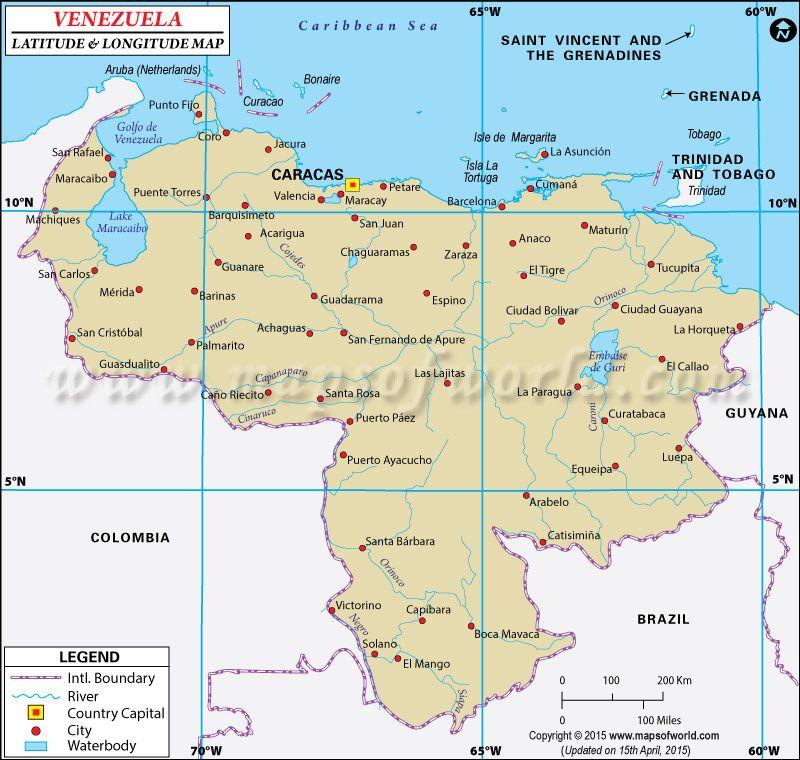 Venezuela Latitude And Longitude Map With Images Oregon Wine