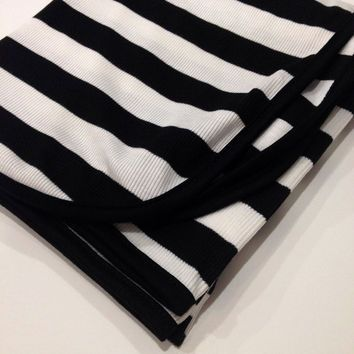 ON SALE-Newborn Baby Girl Boy Gender Neutral Black/White Stripe Swaddle Blanket