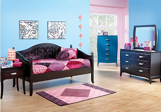 Belle Noir Twin Merlot 5pc Daybed Bedroom Girls Bedroom Sets Bedroom Sets Twin Bedroom Sets