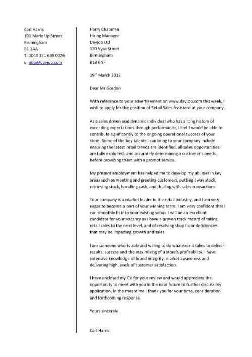 Cover letter that is appropriate when applying for retail sales - Sample Retail Cover Letter Template Example