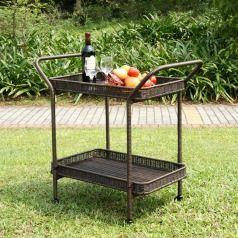 Wicker Lane ORI002-A Wicker Lane Outdoor Espresso Wicker Patio Furniture Serving Cart
