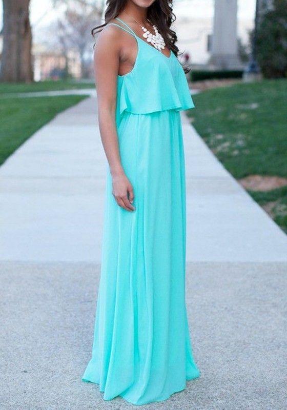 Green Plain Condole Belt Pleated Cut Out Cross Back Vintage Polyester Maxi Dress - Maxi Dresses - Dresses