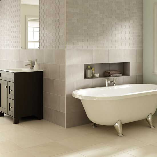 A Classic Contemporary Space With The Brushed Cement Effect And Clean Edges Of Skybridge Ceramic Tile This Stylish Daltile Bathroom Design Bathrooms Remodel