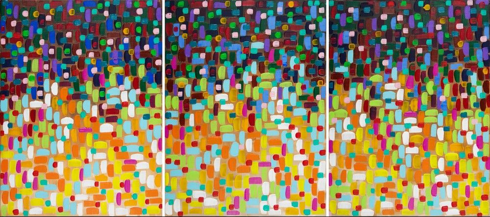 """""""Bohemian Lights"""" by QIQIGALLERY 54""""x24"""" Original Painting Abstract Painting Wall Décor Wall Hangings Office Wall Art for Sale by Artist"""