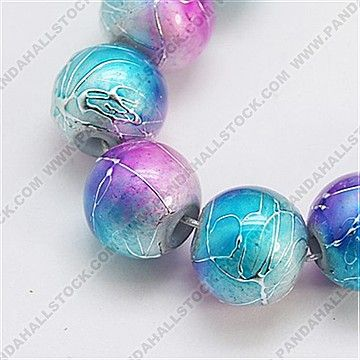 Drawbench Glass Beads Strands, Round, Colorful, 10mm
