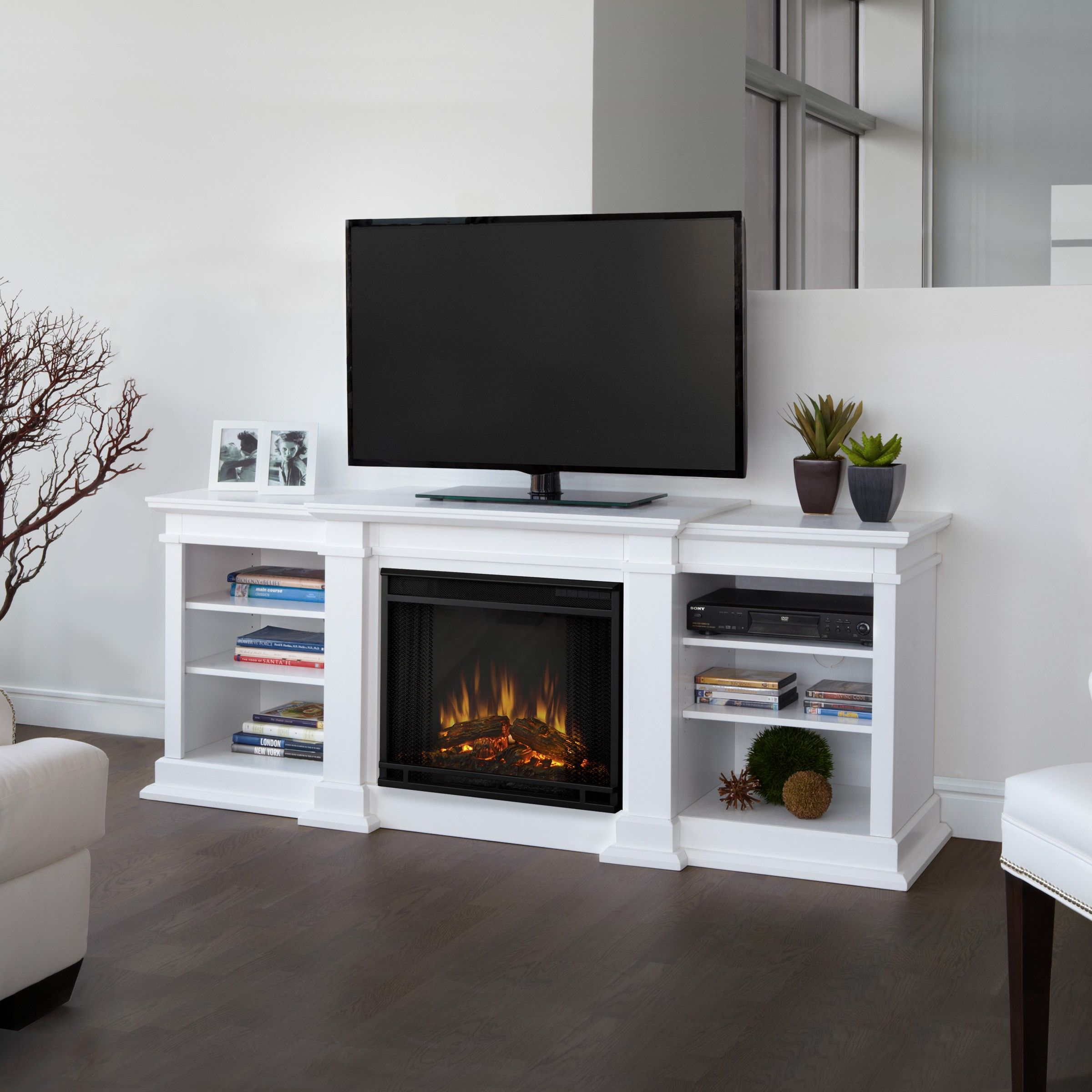 living room electric fireplace with mantel white and clear fire