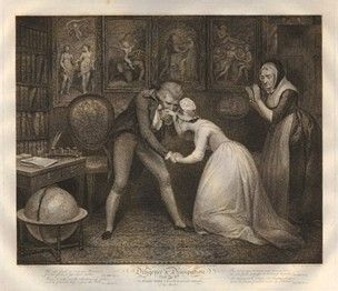 Plate the 8th; the good servant girl kneeling before her master in his study, who kisses her on the hand, to the applause of old maid standing at right; a marriage settlement lying on his desk at right, and a scene of a wedding amongst allegorical paintings on the wall behind.  1797  Stipple and etching