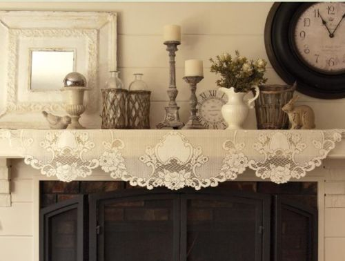 Heritage-Lace-White-VINTAGE-ROSE-Mantle-Scarf-Shelf-Runner-20-x90