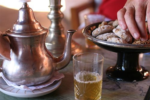 Moroccan mint tea...the classic, delightful staple of this colourful, beautiful country. Mm...