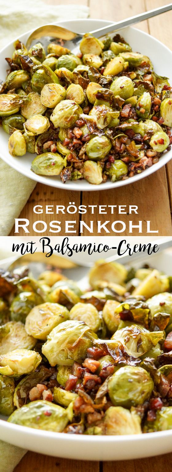 Im Ofen gerösteter Rosenkohl mit Balsamico-Creme und Schweinebauch ...