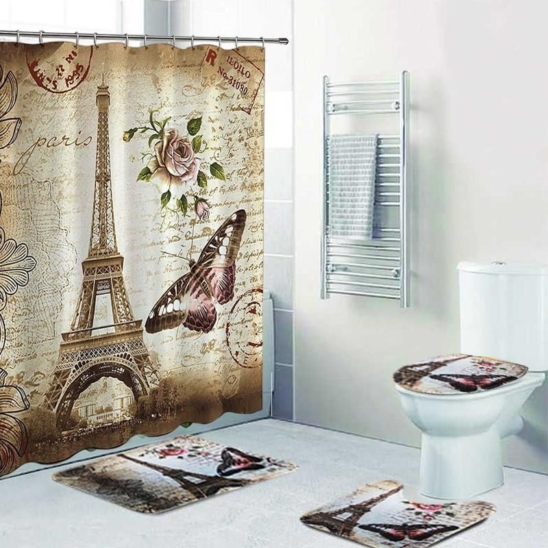 Four Piece Eiffel Tower Shower Curtain And Non Slip Rugs Bathroom Rug Sets Rug Sets Shower Curtain