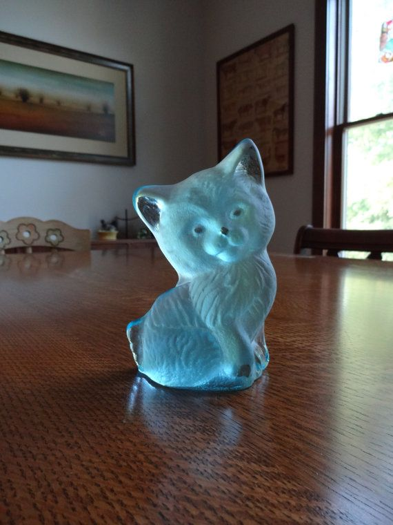Rare Vintage Aqua Viking Glass Frosted Ice by BarefootAndCivil, $35.00
