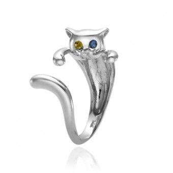 White Gold Kitten Ring Odd Eye Kitten Ring Jewelry Cute Jewelry