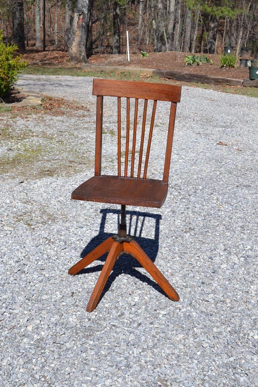 Phenomenal Vintage Child Desk Chair Wood Swivel Seat Antique Wooden Theyellowbook Wood Chair Design Ideas Theyellowbookinfo