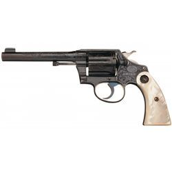Fabulous Documented Inscribed Colt Factory Engraved Police Positive Revolver with Factory Letter Pea