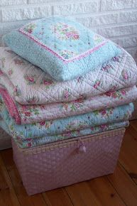lovely #shabby stack of quilts