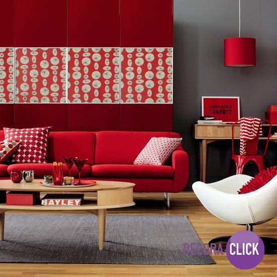 nesta sala com predomin ncia na cor vermelha a combina o. Black Bedroom Furniture Sets. Home Design Ideas