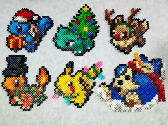 Set Of 6 Pokemon Christmas Ornament Perlers Melty Beads