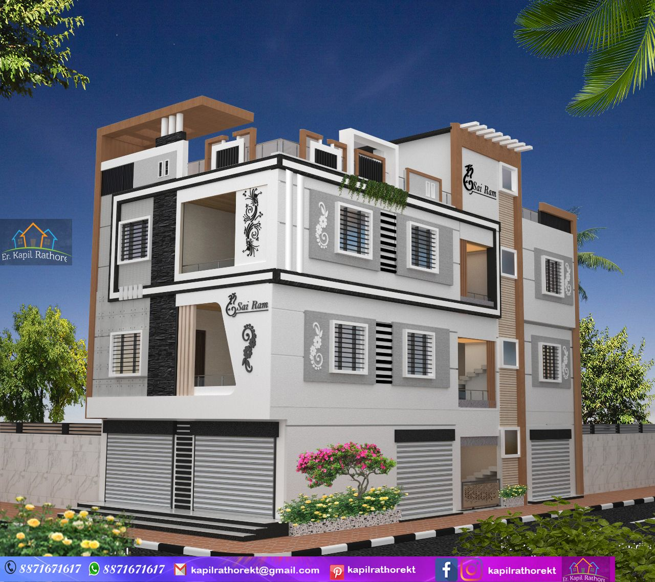 Modern Elevation Residential Commercial Building Design By Er Kapil Rathore House Elevation Rustic House House Design