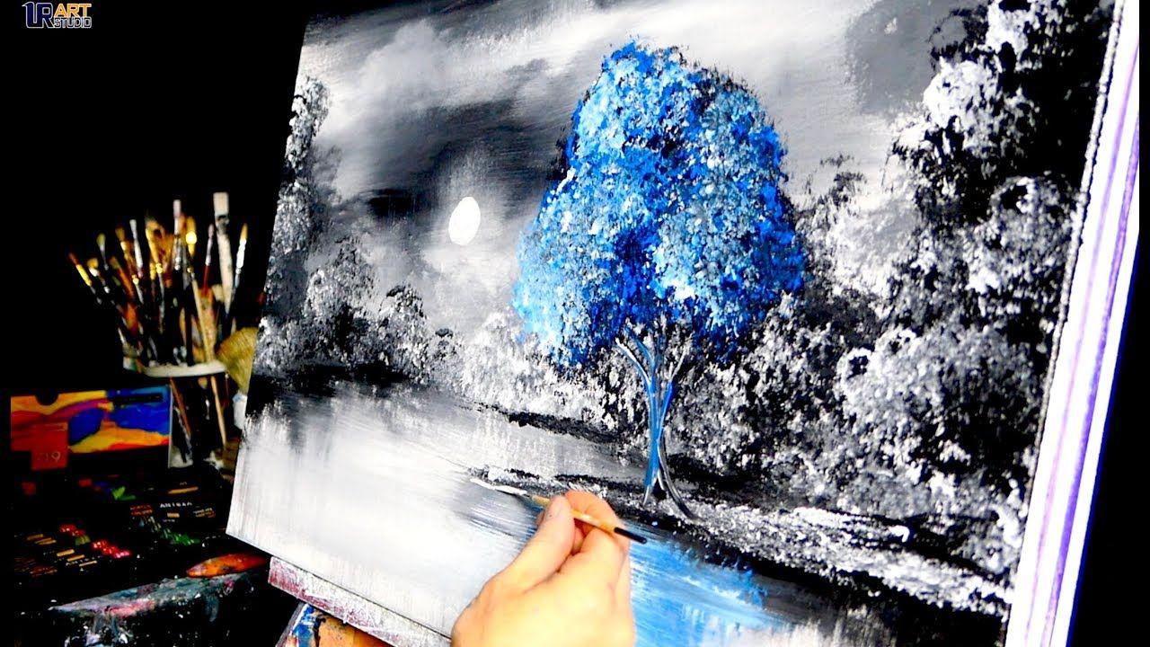 Eine Bunte Abstrakte Landschaft Mit Einfachen Werkzeugen Malen In
