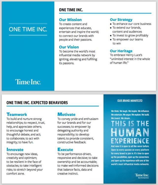 'We Are Now One Time Inc.': Time Inc. Passes Out Company Culture Cards