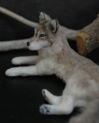 Gorgeous miniature 1:12 scale wolf
