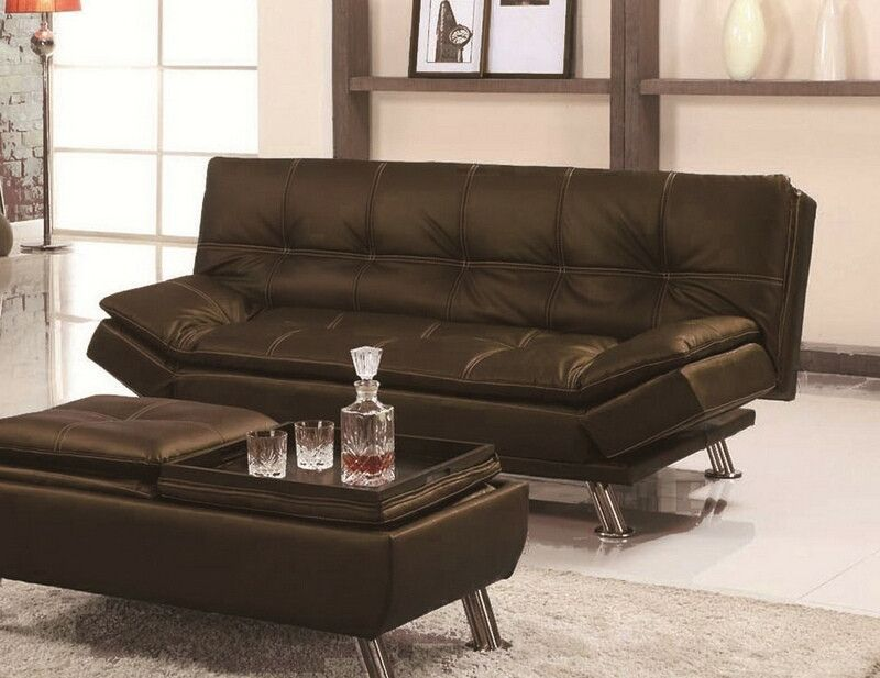 Asia Direct 8632 Brn Brown Faux Leather Accented Stitching Tufted