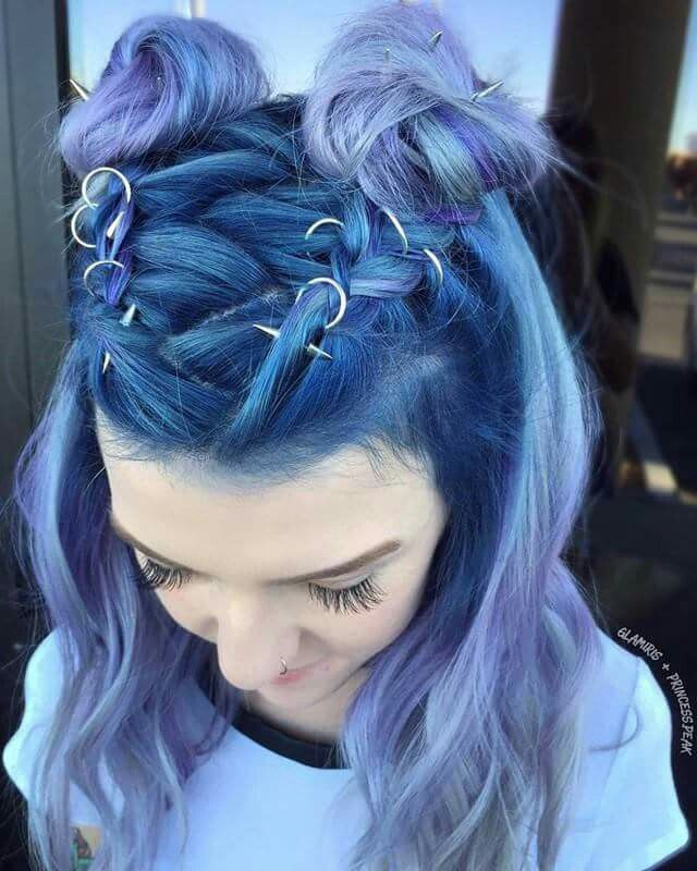 Blue teal purple lavender lilac ombré hair #hairstyle #haircolor