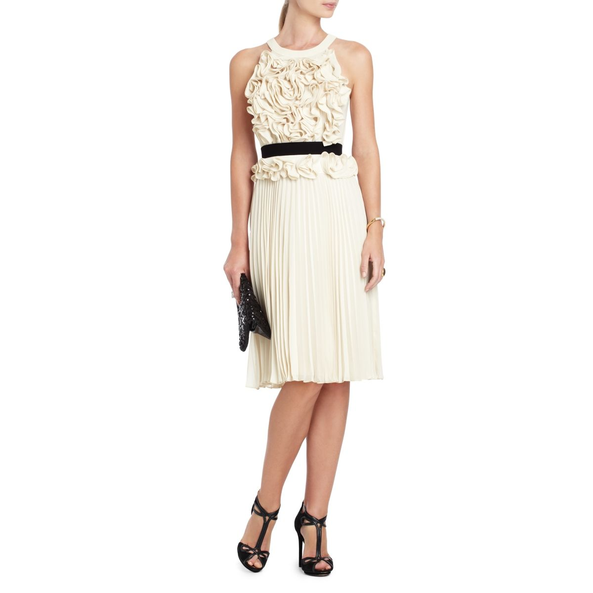 BCBGMAXAZRIA - SAFINA FLORAL-APPLIQUE PLEATED COCKTAIL DRESS ...