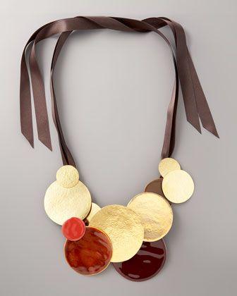 Disc & Ribbon Necklace by Herve Van Der Straeten at Bergdorf Goodman.