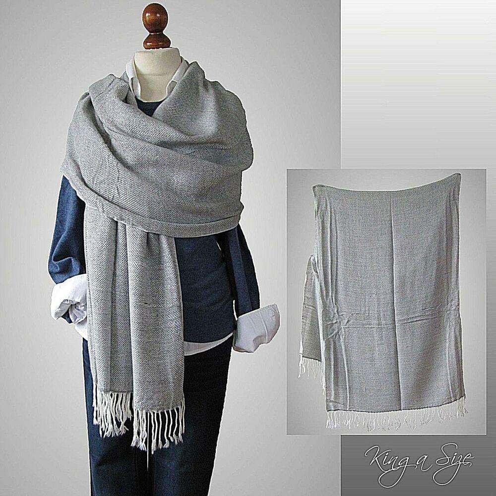 Damen Amp Herren Schal Schultertuch Strickschal Winterschal Scarf Fransen Grau Graue Kleidung Modestil Herren Schal