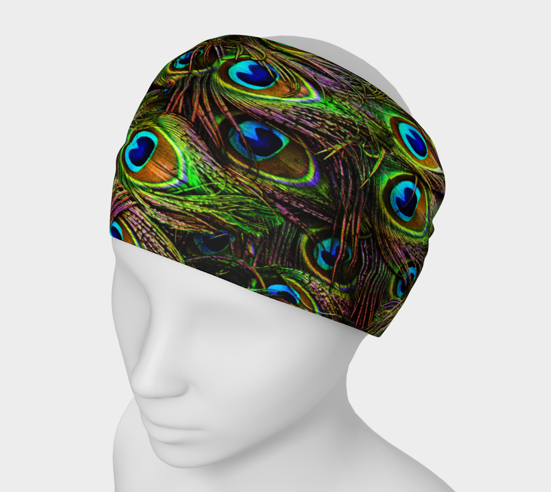 "Printed ""Peacock Feathers"" headband available at Art of Where"