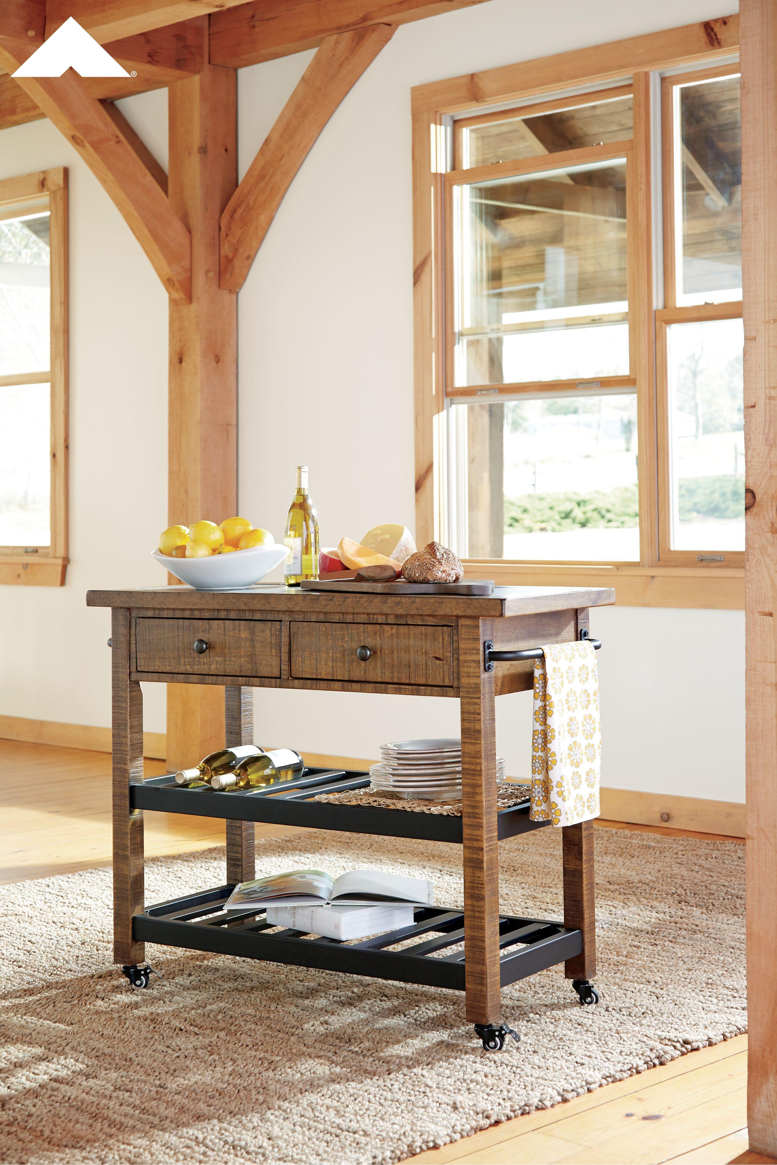 Marlijo Warm Brown Kitchen Cart By Ashley Furniture - #Ashleyfurniture