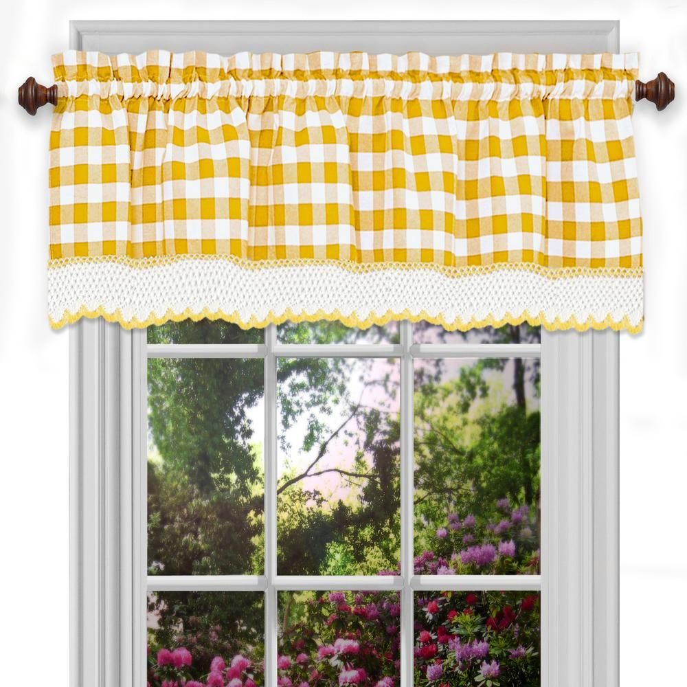 Achim Buffalo Check Polyester Cotton Valance In Yellow 58 In W X 14 In L Valance Curtains Valance Curtains