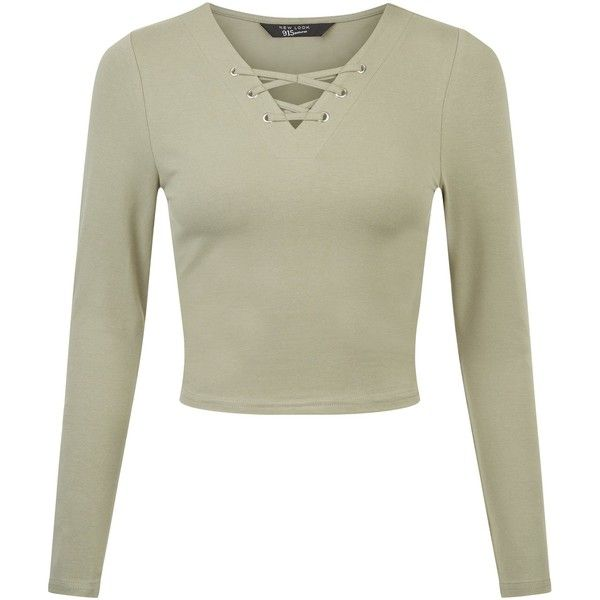 45ec7b766f Teens Khaki Eyelet Lace Up Long Sleeve Top ( 6.40) ❤ liked on Polyvore  featuring tops