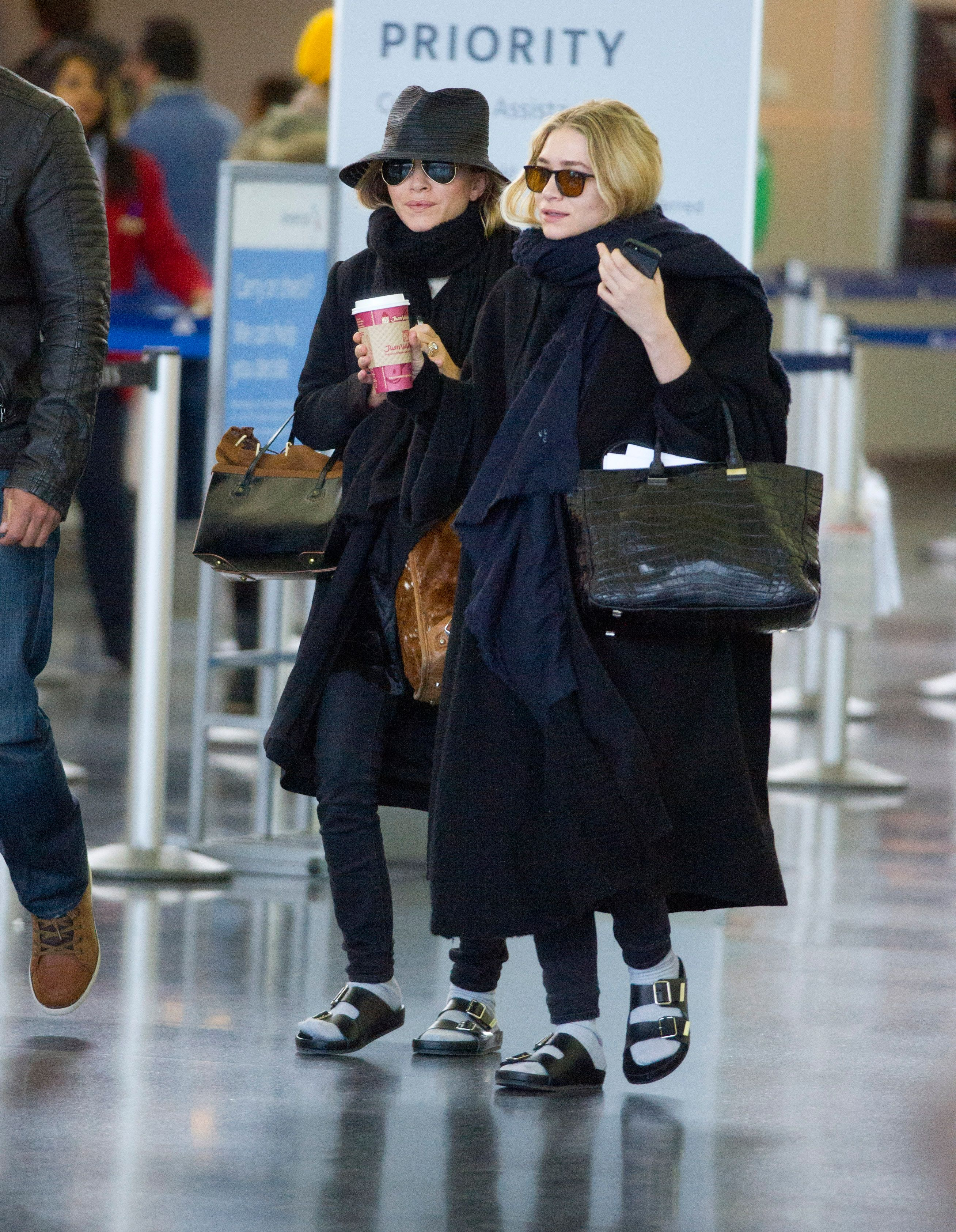 f5923b034a30bd Mary Kate + Ashley Olsen sport matching Birkenstocks and socks at the  airport     Fashion  StreetStyle