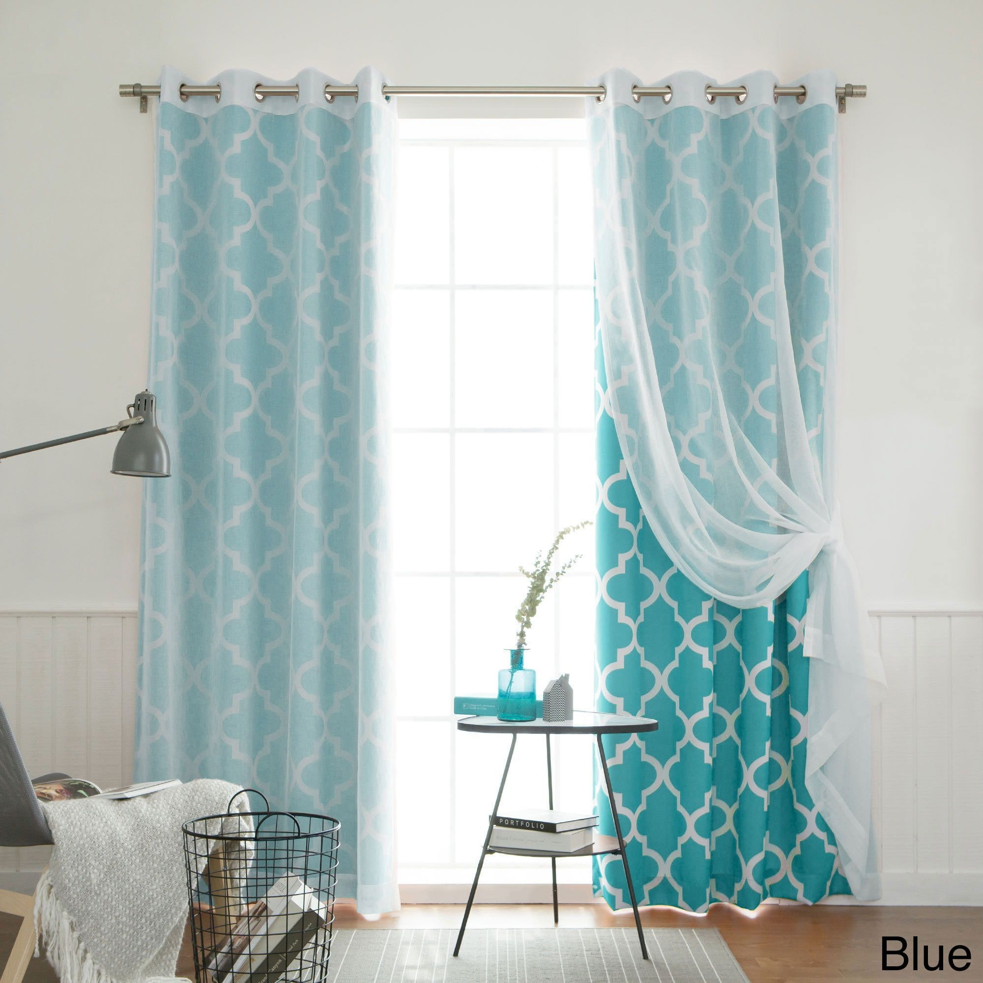Blue moroccan curtains - Aurora Home Mix And Match Curtains Muji Sheer Moroccan 84 Inch 4 Piece Curtain